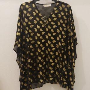 Michael Kors Black & Gold Sheer Poncho Top, Sz SM